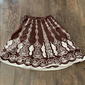 A-line brown and white skirt